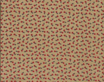 Vintage Calico Print Fabric (Taupe with Red Flowers)  1 yard