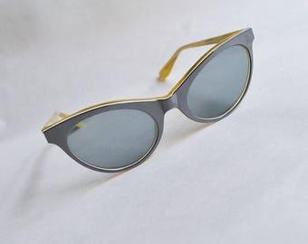 1950s Slate grey cateye sunglasses / 50s glass lens cat eyes