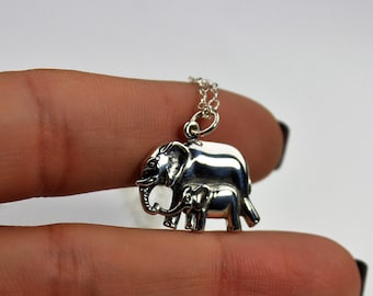 Mama and Baby Elephant Necklace - New Mom Jewelry, Baby Shower Gift, Mothers Necklace, Layering Necklace, Sterling Silver Gifts, Nana Gifts