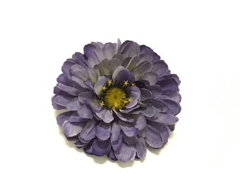 Artificial BLUE PURPLE Zinnia - Artificial Flower, Silk Flower, Hair Accessories, Flower Crown, Wedding Flowers, Hat, Millinery, Bouquet