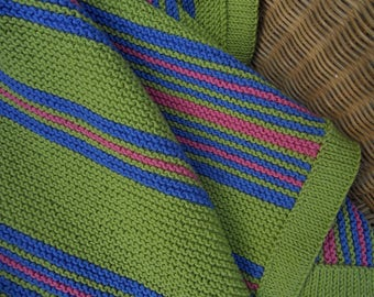 Afghan, blanket, throw,hand knitted in lime green with blue and pink contrasting stripes. Size 40 in x 34 in.