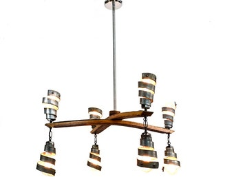 "STAVE CROSS - ""Hemisect"" - Wine Barrel Ring Pendant Light - 100% Recycled"