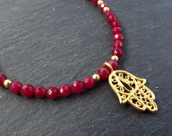 Hamsa Hand of Fatima Layer Necklace Red Jade Stone Gemstone Hippie Bohemian Artisan