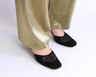 VINTAGE 1940s Black Heels Floral Gold Shoes Size 9