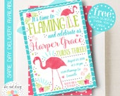 Pink Flamingo Invitation, Flamingo Birthday Invitation, Flamingo Birthday Party, Flamingo Party Invitation, BeeAndDaisy
