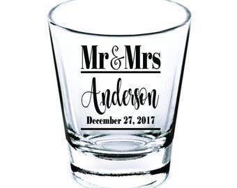 Wedding Shot Glasses - Wedding Favors - Shot Glasses - Mr & Mrs Shot Glasses - Bachelorette Party - Bachelor Party - Custom Shot Glasses