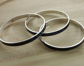 Silver Navy Enamel Bangles - Set of 3 Bangle Bracelets