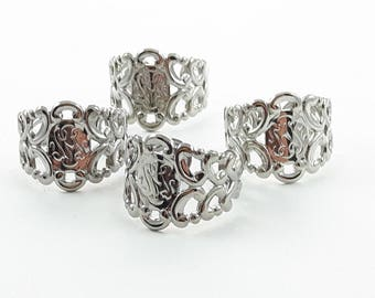 Silver Filgree Band Rings - 4 Pcs