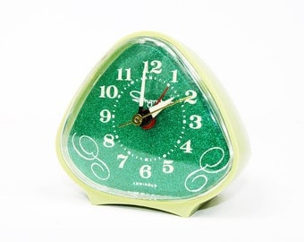 Vintage Alarm Clock by Ingraham: Lime Green and Emerald Green Sparkle