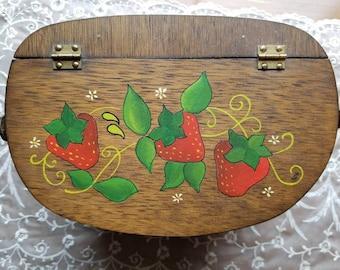 Vintage Hand Painted Mini Picnic Basket Purse Pocketbook Handbag Sewing Basket Strawberries 1960s 1970s Made in Spain