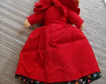 Vintage Topsy Turvy Little Red Riding Hood Granny and Wolf Small Doll Dress Toy