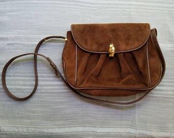 Vintage Gucci Brown Suede and Leather Purse Made in Italy 1970s or 1980s