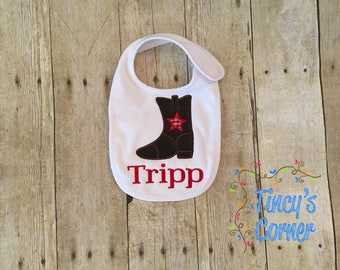 Cowboy Boot with First Name Appliqued Bib