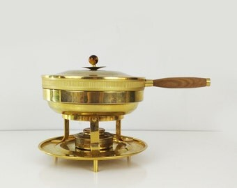 Vintage Brass Chaffing Dish / Catering Food Warmer