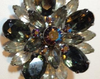 Black Glass Brooch, Colored Rhinestones, Clear Rhinestones, Silvertonr Metal // Vintage