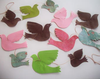 Paper Birds--Garland of a Variety of 12 Paper Birds
