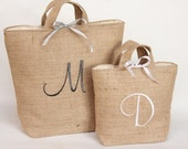 MONOGRAM Embroidered Hessian  Gift Bags  Burlap Tote  Personalised   New Home Wedding Gift Anniversary. Simple Modern  Elegant