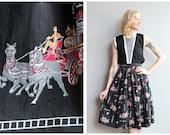 1950s Skirt // Novelty Firetruck Skirt // vintage 50s skirt