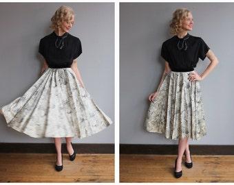 1950s Skirt // Tree of Life Skirt // vintage 50s skirt
