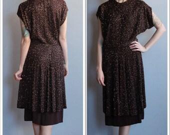 1940s Dress // Milmónt Beaded Silk Crepe Dress // vintage 40s dress