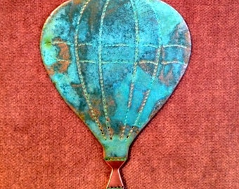 Hot Air BALLOON Copper Verdigris Ornament - Handcrafted in The Copper State (Arizona USA)