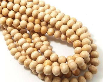 "Meranti Wood Beads, 8mm, ""Philippine Mahogany,"" Light, Round, Natural Wood Beads, Smooth, Large, 16 Inch Strand - ID 2168-LT"