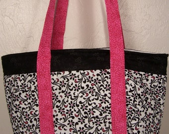 Pink and Black Six Pocket Tote