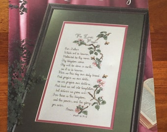 The Lord's Prayer by Carol Emmer Cross Stitch pattern book Leisure Arts Leaflet 958 from 1990
