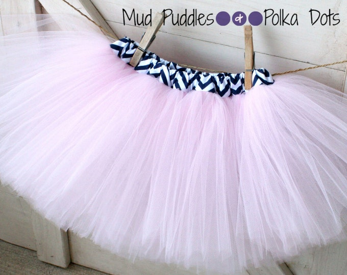 Lined Tutu Skirt, Navy Blue and white chevron lining with your choice of tulle, baby, infant, toddler, girl, nautical, pink, photo, CTT59