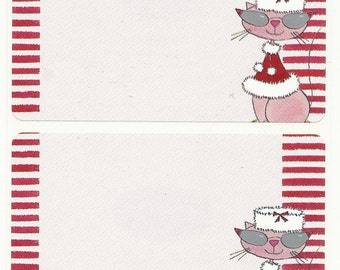 Wintery Cat Labels with Grey Cats Eye Glasses Red Winter Cape Red Stripe Pink Kitty - Decorative Labels for Crafts, Scrapbooks, Canning