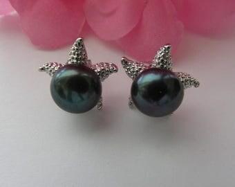 10-11mm Black Pearl Stud Pearl Earrings,Star Fish Earrings,Black Pearl Earrings,Freshwater Pearl, Black Earrings