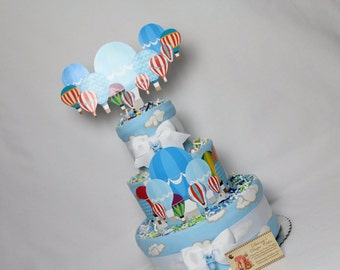 Hot Air Balloons Baby Diaper Cake Boys Shower Gift or Centerpiece