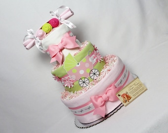 Peas in a Pod Baby Girls Diaper Cake Shower Gift or Centerpiece