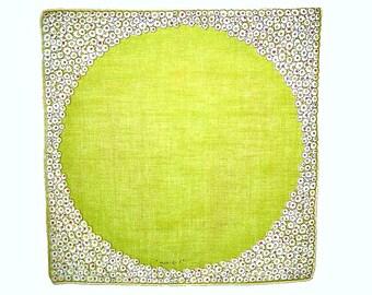 VINTAGE DESIGNER HANKIE Monique Acid Green Circle Abstract Floral Frame Linen, Hand Rolled Hem, Signed, 1950s, Mid-Century Vintage Condition