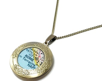 Rome, Italy 1972 Vintage Map Locket. Ready To Ship. Roma Map Pendant Necklace Jewellery. Rome Travel Gift Ideas For Her. Mothers Day. Women