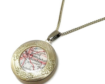 Columbus, Ohio 1959 Vintage Map Locket. Ready To Ship. Columbus Map Pendant Necklace. Gift Ideas For Her. Going Away. Mothers Day. Women