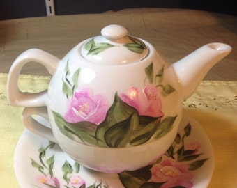 Tea for One Teapot Set Modern Pink country cottage Roses