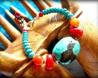 Genuine Natural Turquoise Bracelet, Southwest Bracelet, Carnelian, Red Coral Bracelet, Cowgirl Jewelry, Western Jewelry