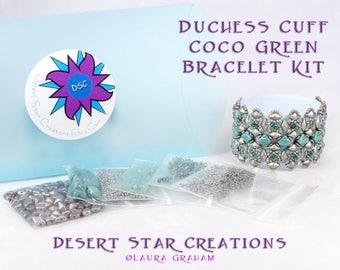 Diamond Duchess Cuff Bracelet Bead Kit in Coco Green, DiamonDuos, Silky Beads, Swarovski Crystal, Beadweaving Bracelet Kit, Beaded Cuff Kit