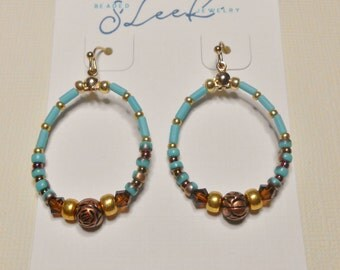 Copper beaded and Swarovski Crystal earrings