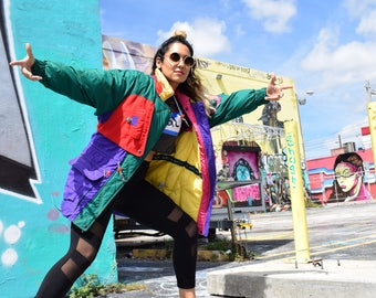 Vintage Down Windbreaker - Hip Hop til You Drop - 80s 90s Forest Green Yellow Red Purple Hot Pink Color Block Puffer Bomber Jacket - Size M