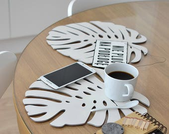 Coasters, placemats, plywood big white coasters tropical leaf shape, four elements