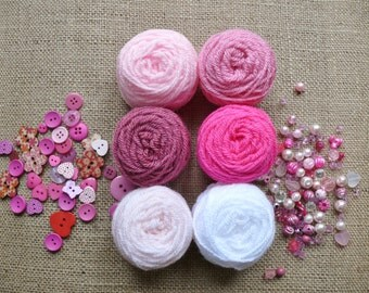 Crochet Kit to make Candy Pink Mini Pennant Bunting