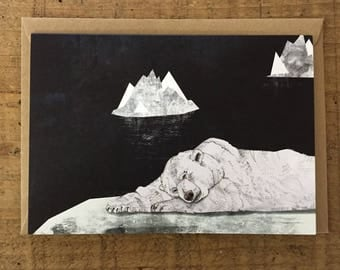 Sleeping Polar Bear // Greeting Card