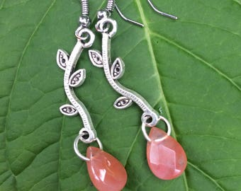 Apricot tear drop shaped earrings