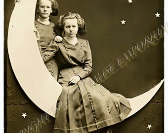 Sisters on the Paper Moon Instant Download Vintage Photo