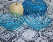 Set of 2 Azure Blue Hazel Atlas Ice Cream Bowls. Colonial Swirl Pattern. Almost 5 Inches Across.