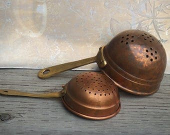 Vintage Pair of Copper and Brass Colanders or Strainers. Small Size.