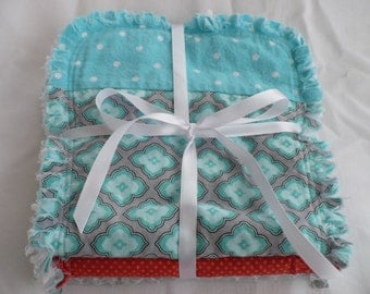 Baby Boy or Girl Burp Cloth Set of 3 - Modern Quatrefoil Tile Tribal Boho Prints in Aqua Turquoise and Gray Chenille Rag Quilted