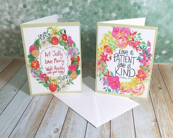 Bible Verse Card Set Two Inspirational Floral Wreath Watercolor Blank Cards